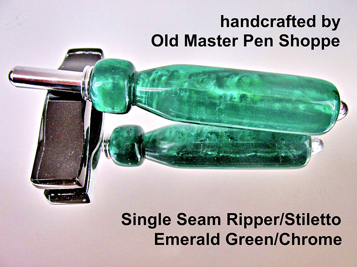 Handmade Emerald Green Seam Ripper or Stiletto with Chrome Plating