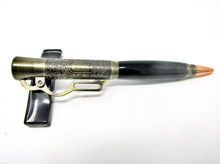 Handmade Lever Action Pure Black Ballpoint Pen with Antique Brass Plating