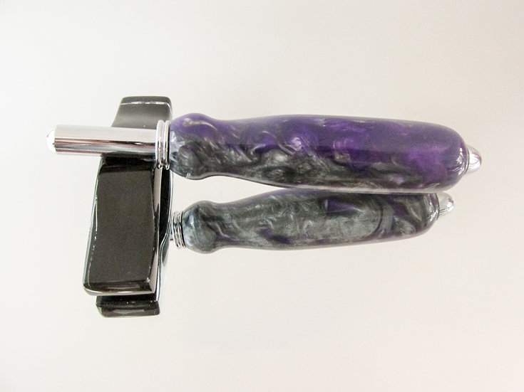 The double seam ripper/sewing stiletto is handmade from Plum Crazy Inlace Acrylester