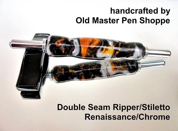 Handmade Renaissance Double Seam Ripper/Stiletto with Chrome Plating
