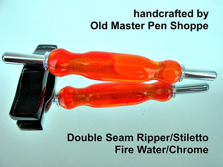Handmade Fire Water Seam Ripper/Stiletto with Chrome Plating