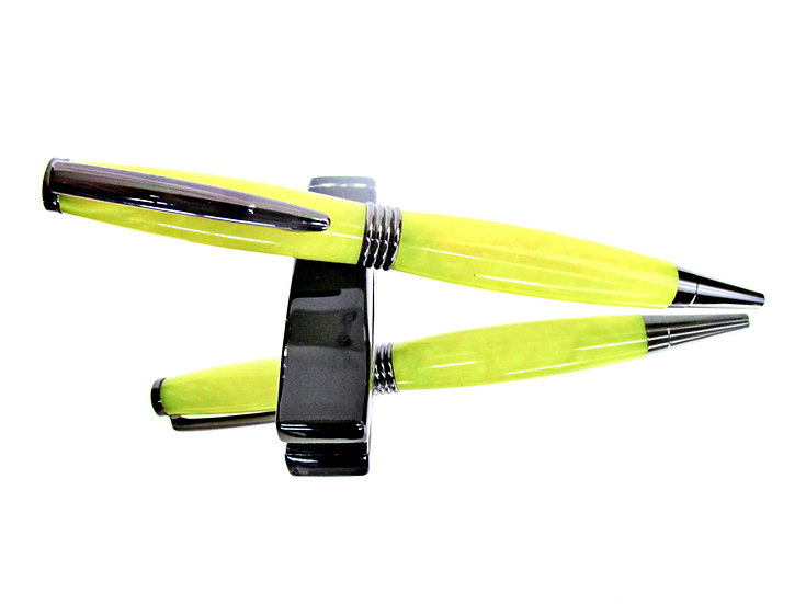 Handmade Crushed Yellow Saturn Ballpoint Pen with Gun Metal Plating