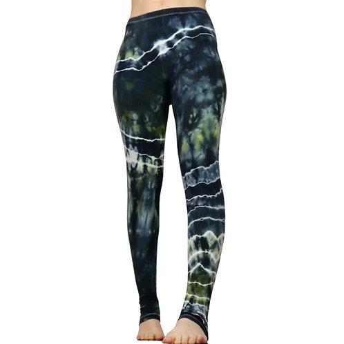Handgemachte grau gruene Batik Leggings von Tinalicious