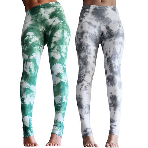 Grau weiße Batik Yoga Leggings - Marmor 34/XS - handgefärbt von Tinalicious