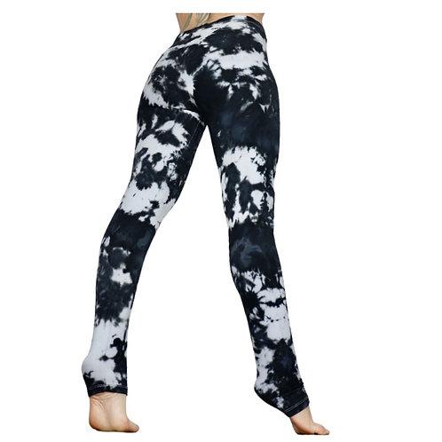 Grau weiße Tie Dye Leggings - Marmor 38/M