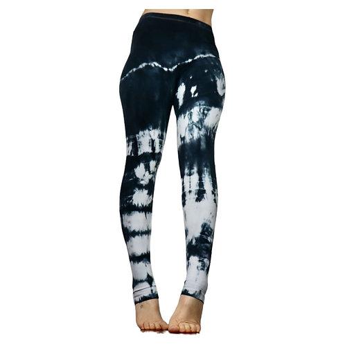 Grau weiße Tie Dye Leggings - Abstrakt 36/S