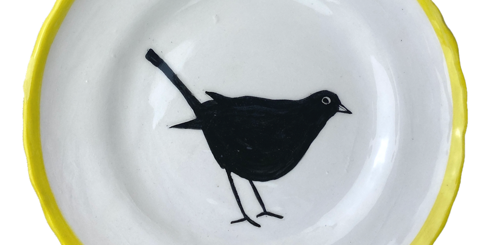 Hand Painted Side Plate - Black Bird