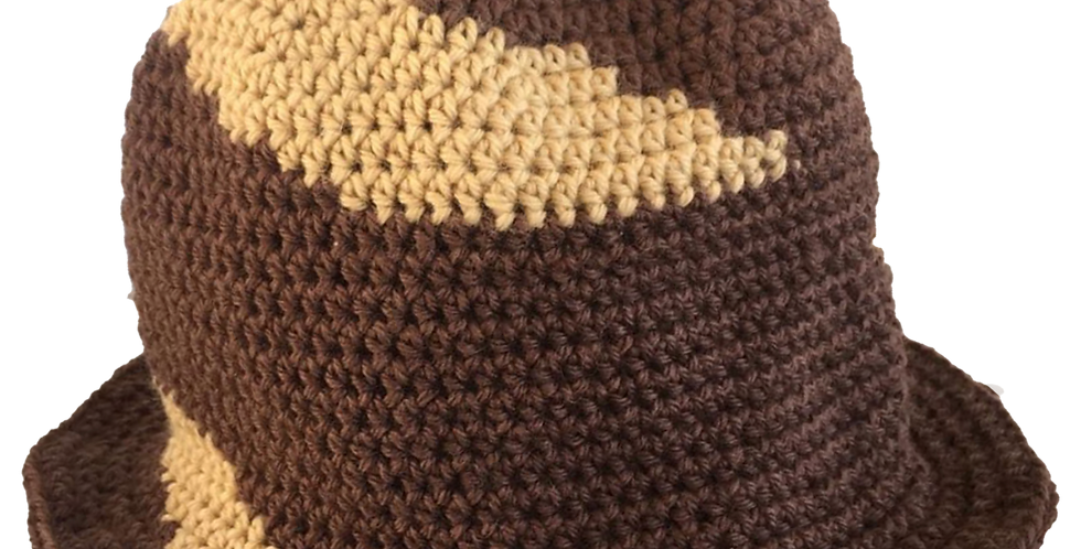 Hand Knitted Wool Hat - Brown Stripe