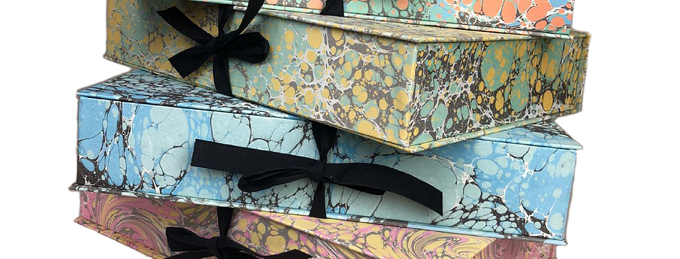 Hand Marbled A4 Filing Boxes