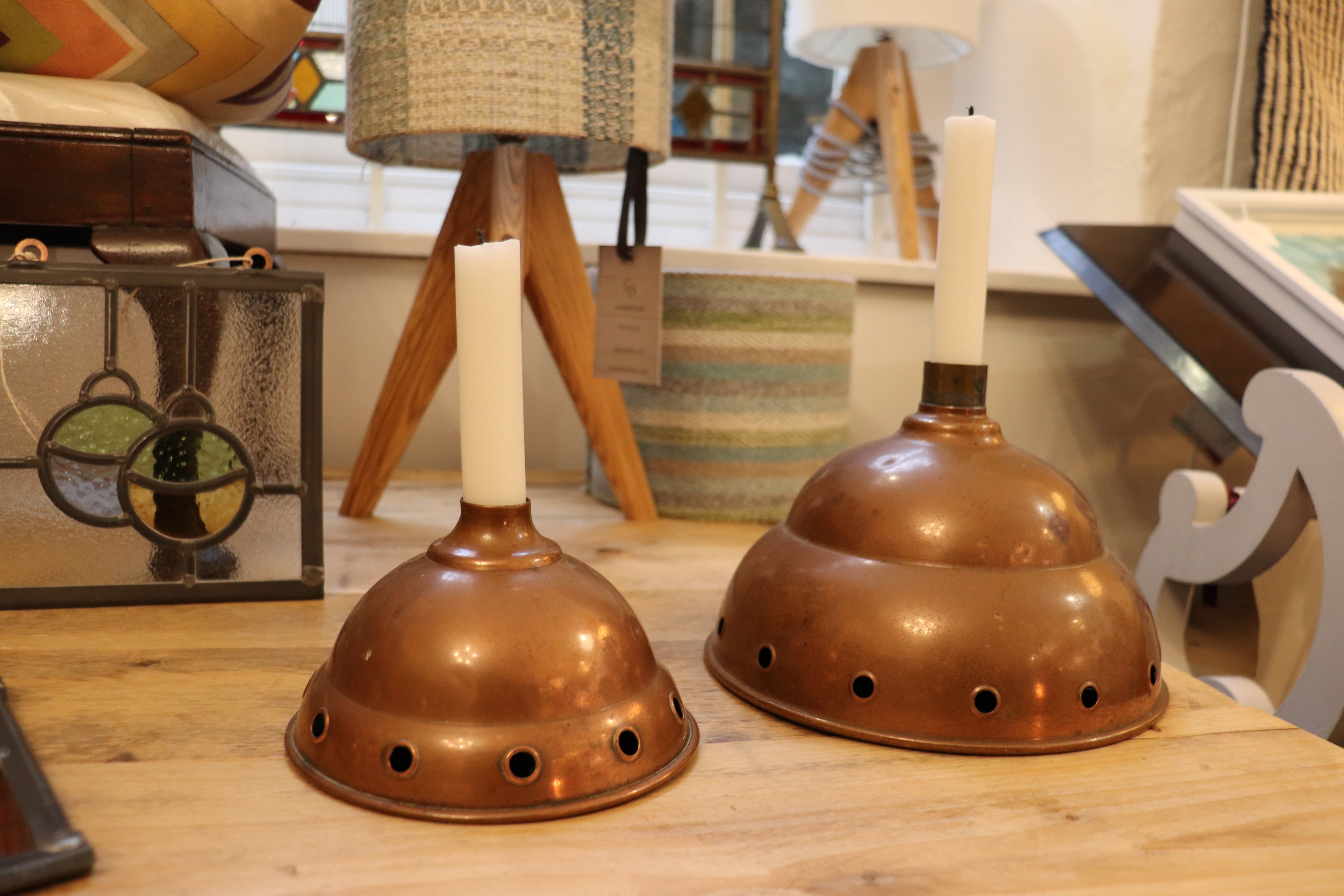 Copper candle holders