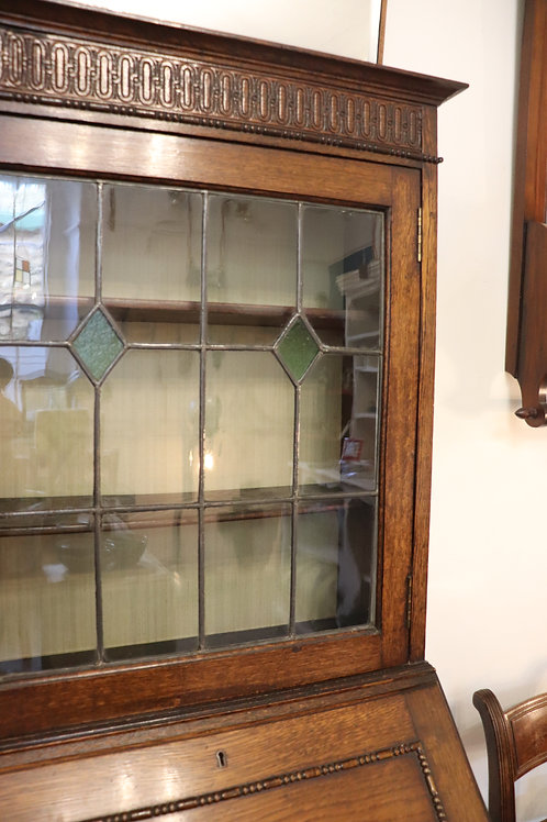 Small Oak Bureau with Leaded Door
