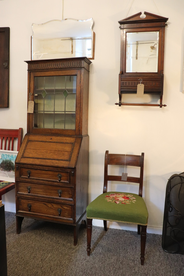 Bureau, mirrors and needlework chair