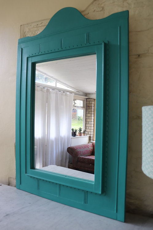 Large scallop edge mirror painted in Annie Sloan