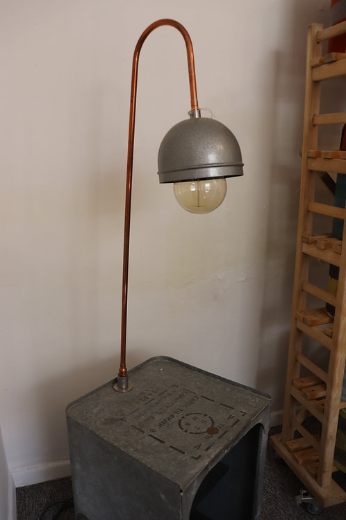 Copper lamp adapted from old vintage water tank