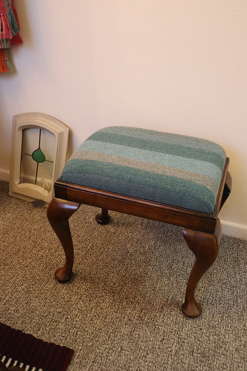 Mohair Tweed Reupholstered Stool