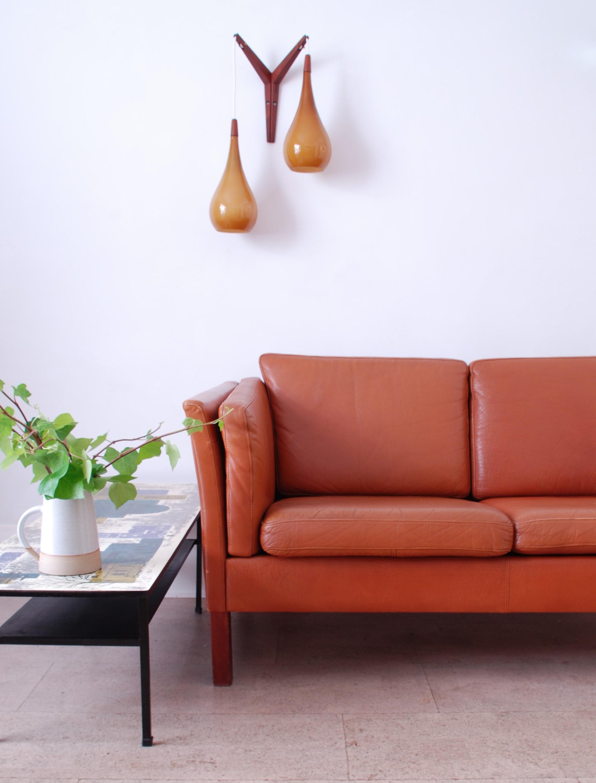 Danish Leather 2 Seater Sofa