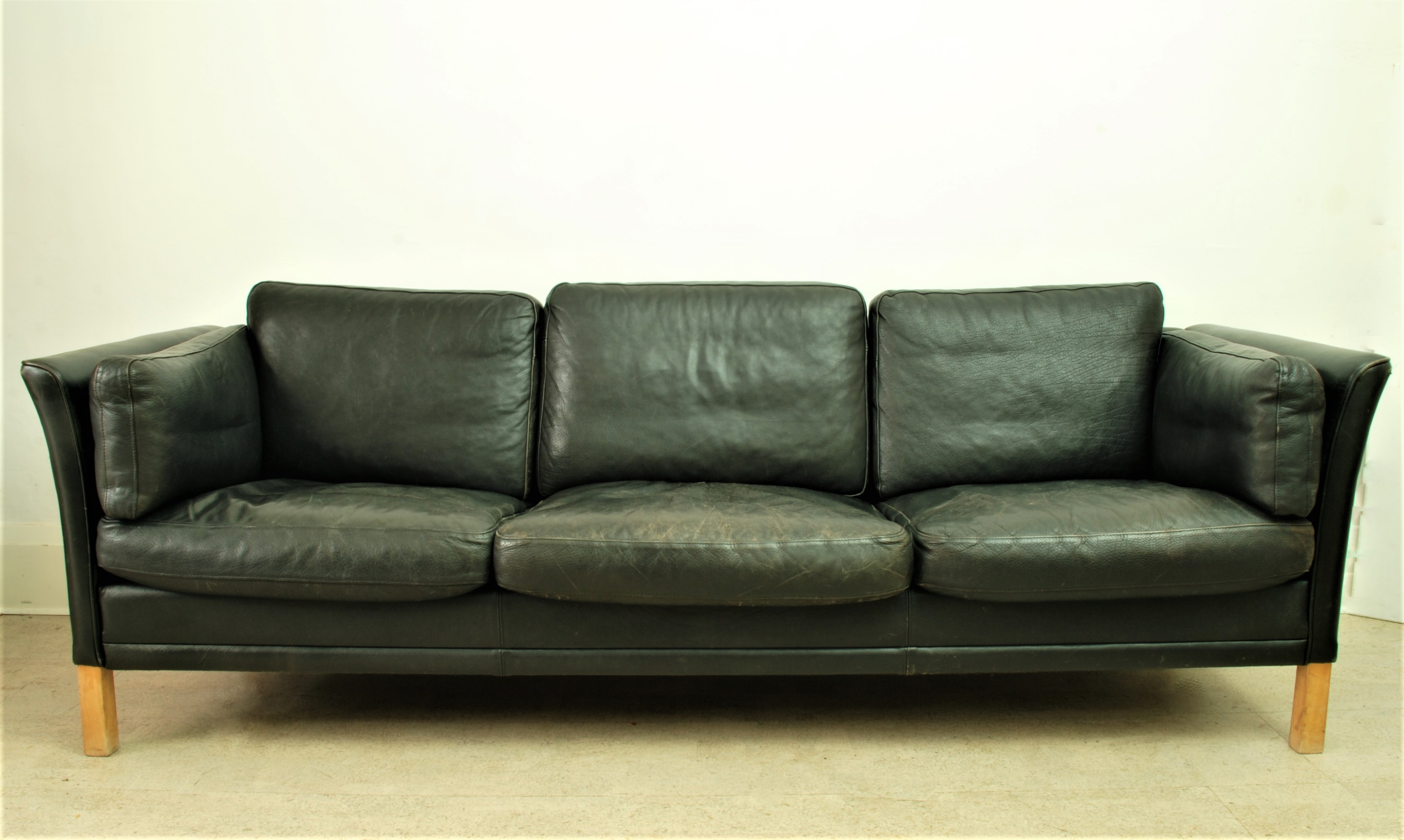 Danish Black Leather Sofa (2)