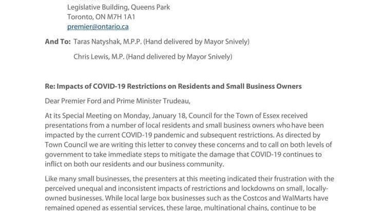 Letter: Impacts of COVID-19 Restrictions on Residents and Small Business Owners