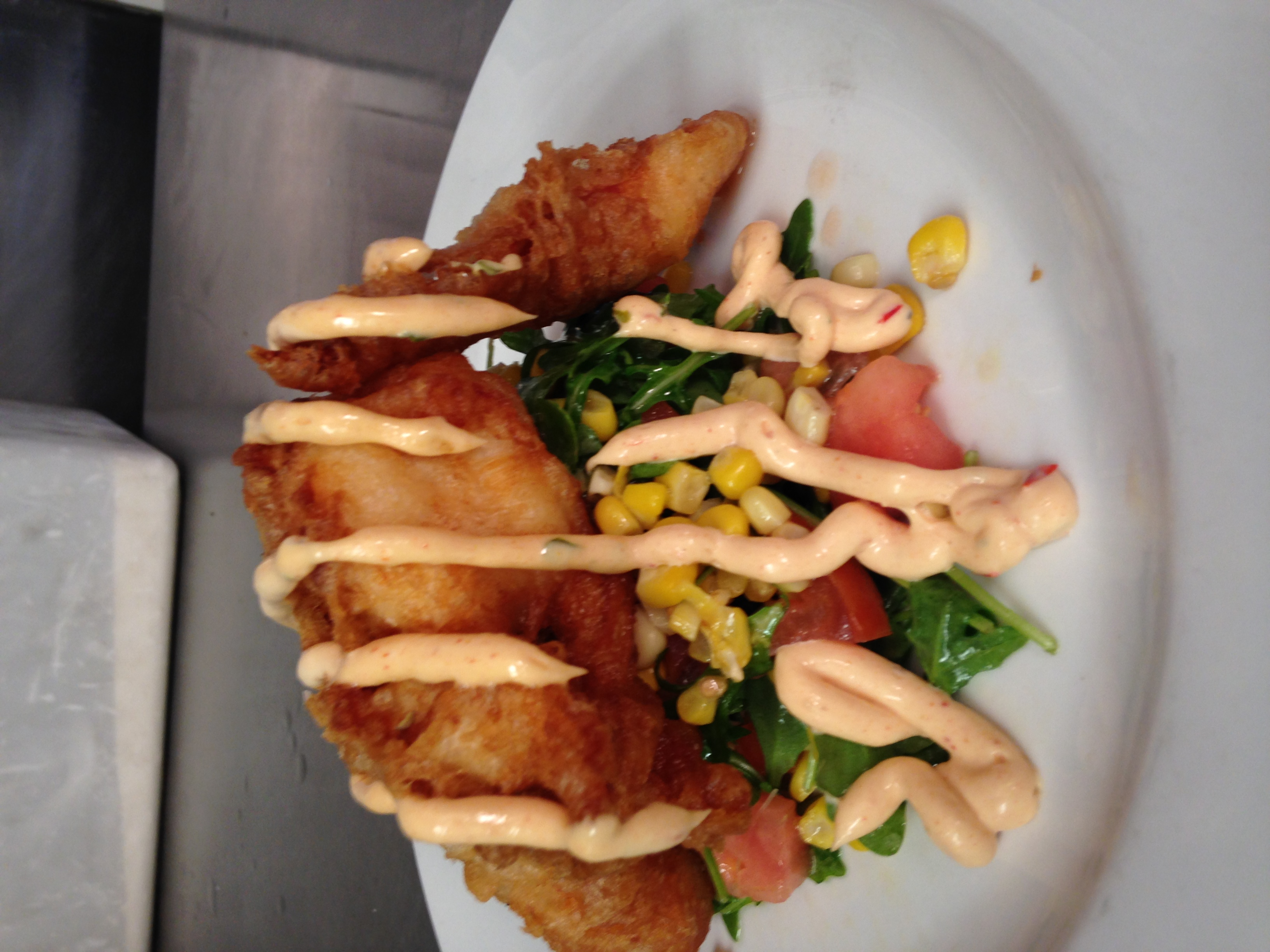 Fried lobster -Corn and tomato salad