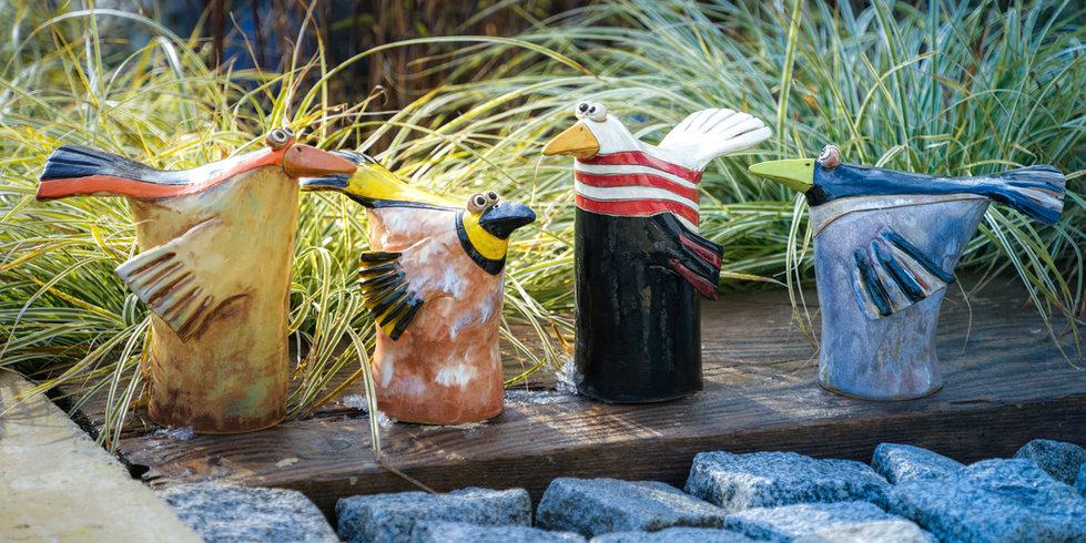 Keramik- Tütenvögel - Gartendeko