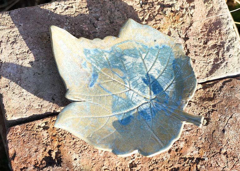 Blatt-Teller sand-blau