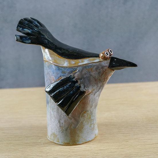 Grauschwarzer Tüten-Vogel