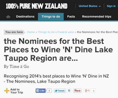 Recognizing 2014's best places to Wine 'N' Dine in NZ  - The Nominees, Lake Taupo Region