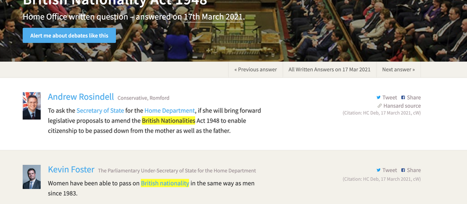 Parliament question by Andrew Rosindell MP March 17, 2021