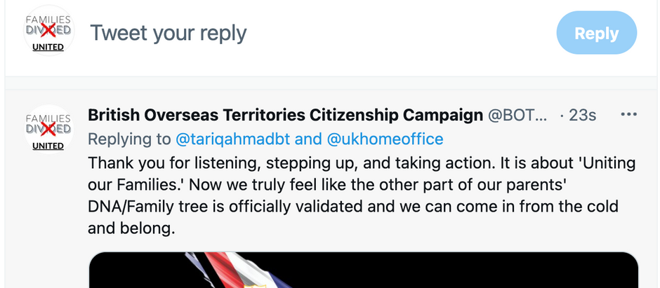Tweet from Lord Tariq Ahmad, the FCDO Minister for Overseas Territories