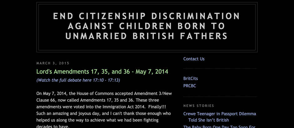 'UK Citizenship Equality' - Another UK Citizenship Campaign - Historical Perspective.
