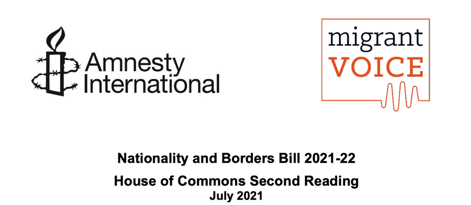 Nationality and Borders Bill – Second Reading briefing by Amnesty International & Migrant Voices