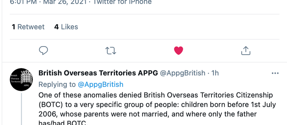 Tweet from British Overseas Territories All-Party Parliamentary Group 'APPG'