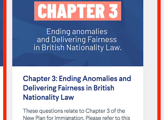 Chapter 3, 'Ending anomalies and Delivery Fairness in British Nationality Law,' Home Office Survey.