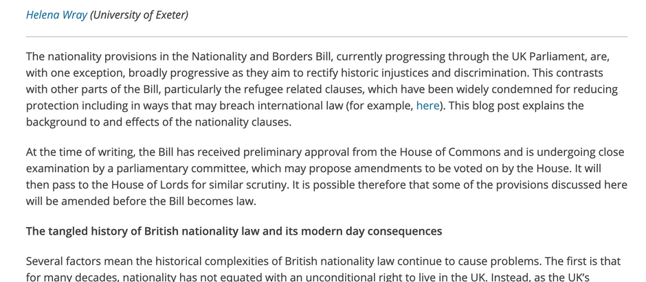 """""""Tying Up Historical Loose Ends: The Nationality & Borders Bill (UK)"""" by Dr. Helena Wray"""
