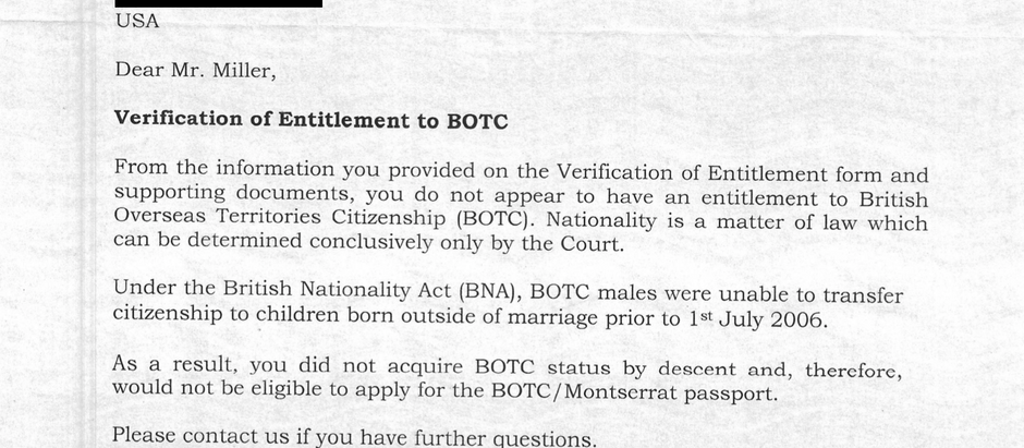This is what official citizenship rejection looks like