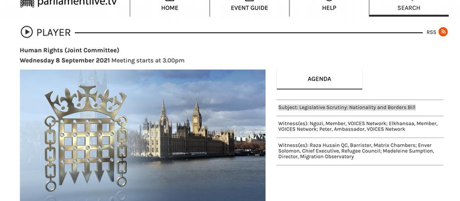 TV Links to Legislative Scrutiny: Nationality and Borders Bill