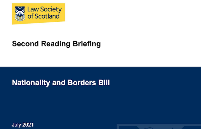 Law Society of Scotland Analysis of 2nd Reading Nationality & Borders Bill