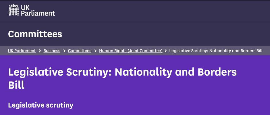 Legislative Scrutiny: Nationality and Borders Bill - Call for Evidence JCHR