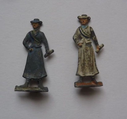 January 2019:We have recently acquired these two antique lead enamel Suffragette figures, but which board/tablegame arethey a part of?