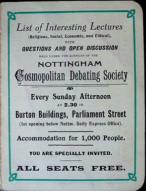 March 2020: Nottingham Debating Society Programme - includes a lecture by Adela Pankhurst, suffragette, Oct. 1911