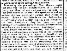 Suffragette Meeting in Derby in 1907