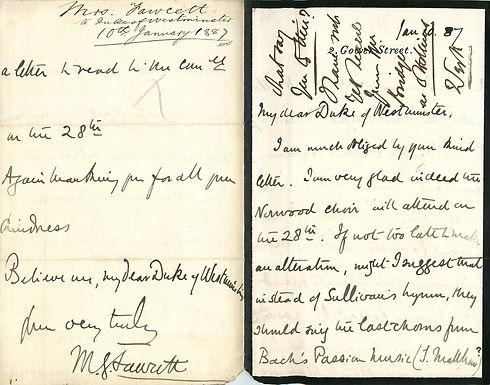 August 2020: MILLICENT FAWCETT (11 June 1847 – 5 August 1929) Autograph Letters Signed