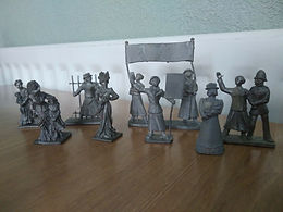 """July 2020: Handcast Lead 1:32 Scale 54mm miniature Figurines """"Suffragettes"""" by Al Charles / Cliff Sanderson Circa 1980 ."""