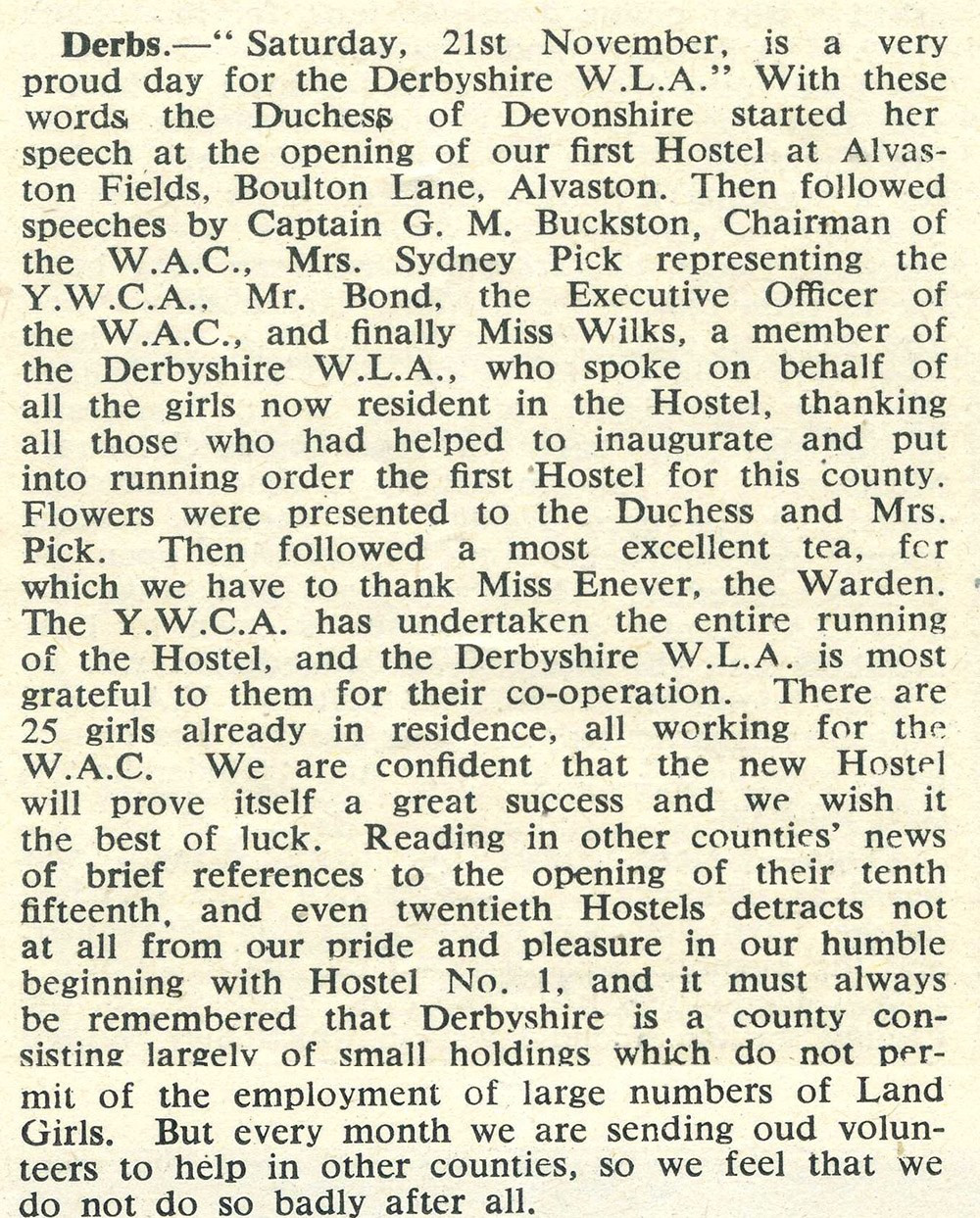 'At a party in Derbyshire', opening of hostel at Alvaston Fields, Boulton Lane Photo from p13 of 'The Land Girl', December 1942