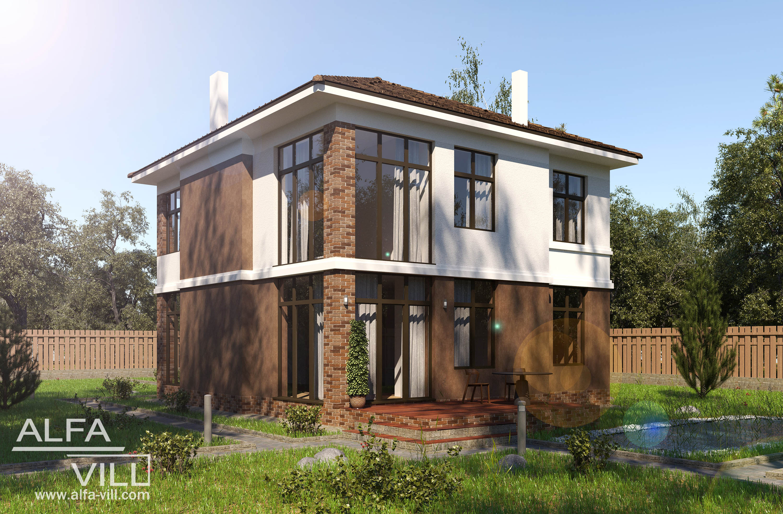 Двухэтажный жилой дом из газобетона