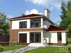 Двухэтажный дом с гаражом из кирпича