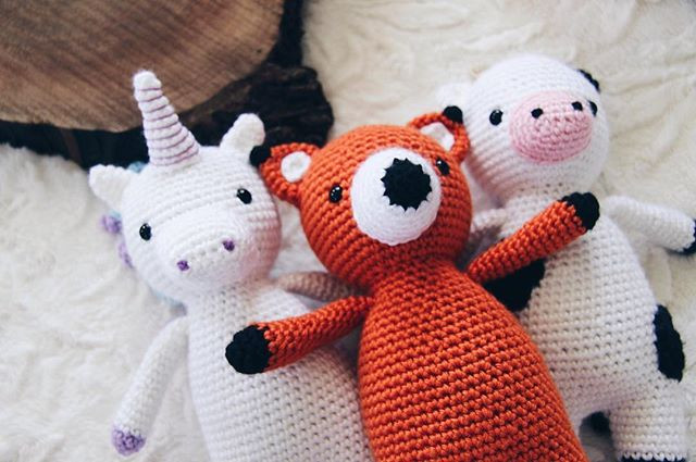 Cuddly Critters, crocheted unicorn, fox, and cow