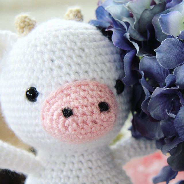 Cuthbert the Cow, crocheted cow