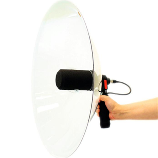 Example of a parabolic microphone. The dish reflects the sound toward the central microphone, obtaining recording with a high signal-to-noise ratio.