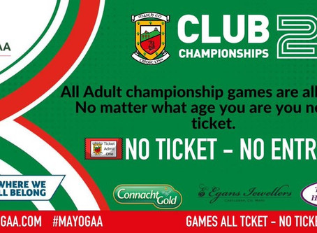 Important reminder about Saturday's Round 1 Junior Championship game v. Killala